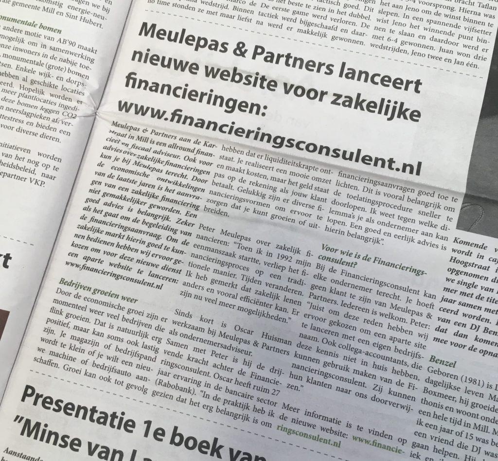 artikel Neije Krant: Meulepas en partners lanceert nieuwe website